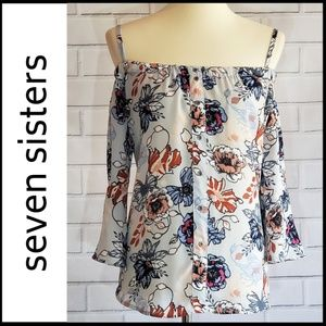 NWT SEVEN SISTERS Off-The-Shoulder Floral Blouse
